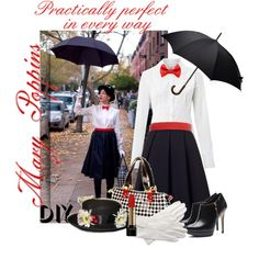 DIY Halloween Costume: Mary Poppins by dixiebelle81 on Polyvore featuring Weekend Max Mara, J.W. Anderson, MM6 Maison Margiela, Brooks Brothers, Lancôme, Aspinal of London, Halloween, contest and DIYHalloween