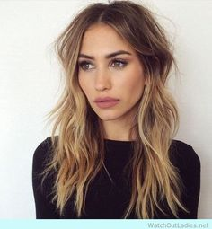 Long hair with layers and blonde balayage
