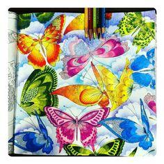 «Butterflies!!! Colorido lindo demais, da @boracolorirtop. Do novo livro da Millie Marotta, Paraíso Tropical! ------------- Compartilhe conosco via Direct…»