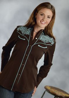 Roper® Womens Brown Turquoise Embroidered Long Sleeve Snap Old West Shirt