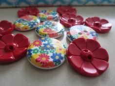 Vintage Buttons  Lot of 12 Cottage chic red and by pillowtalkswf, $4.75