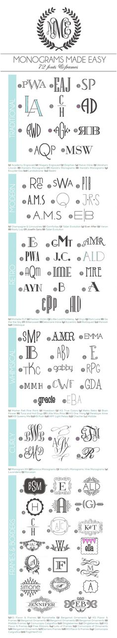 A library of 72 monogram fonts & frames with links (most of them free) Compiled by Amber of Damask Love #mongramfonts