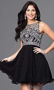 Shop homecoming dresses and sweet-16 dresses at Simply Dresses. Sleeveless mock two-piece wedding-guest dresses and jeweled party dresses.
