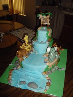 DIY Baby Shower Jungle Theme Fondant Cake. Giraffe, Lion, Elephant, Monkey, and Hippo with Waterfall Center