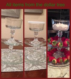 """Made this tiered stand from plates and candle sticks from the dollar tree! I used a glue called """"Goop"""" from Lowes to glue them together. #diy"""
