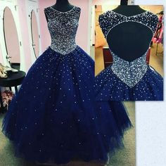Modest Sparkly Dark Blue Prom Dress Quinceanera Dresses Masquerade 2018 Sheer Neck Open Back Bling Crystal Pageant Dresses For Sweet 16 - Dress Models Dark Blue Prom Dresses, Backless Prom Dresses, Tulle Prom Dress, Prom Party Dresses, Pageant Dresses, Sweet 16 Dresses Blue, Navy Blue Quinceanera Dresses, Party Gowns, Puffy Prom Dresses