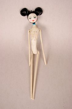 Clay Art Doll with Mouse Ears  Oda the Gymnast by DoubleFoxStudio, $360.00