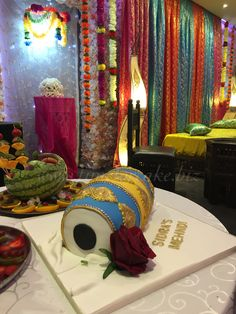 Dhol cake - call me for more enquiries. Mehndi Cake, Drum Cake, Wedding Cakes, Weddings, Bride, Party, Handmade, Painting, Wedding