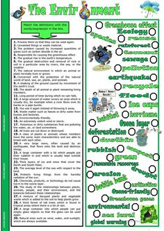 The Environment worksheet - Free ESL printable worksheets made by teachers English Reading, English Fun, English Writing, English Lessons, Learn English, Vocabulary Exercises, Vocabulary Worksheets, Printable Worksheets, Teaching English Grammar