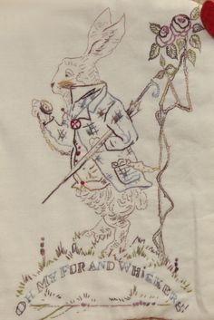A stitchery,,, with apologies to John Tenniel  the illustrator for the first Alice In Wonderland . Stitched by me with Cottage Garden Threads