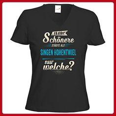 getshirts - RAHMENLOS® Geschenke - T-Shirt Damen V-Neck - Heimat Stadt - Singen (Hohentwiel) - blau - schwarz XL