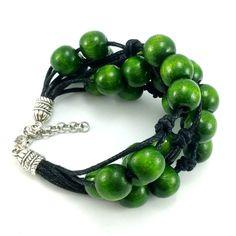 Bransoletka sznurek sznurkowa khaki czarna drewniana Lens, Beaded Bracelets, Jewelry, Jewlery, Jewerly, Pearl Bracelets, Schmuck, Klance, Jewels