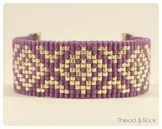Diamond Delica Beaded Loom Bracelet in Orchid & Silver