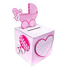 Baby Shower box for card gifts | BabyShower Wishing well card, gift or money box GIRL party ideas