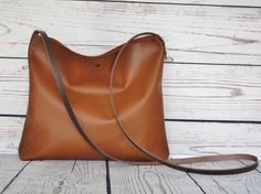 Small cognac leather crossbody bag real leather by FidelioBags