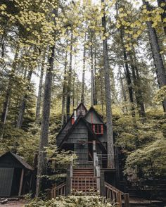 a-frame in the woods . make a farm house with good fences and a good security system and your farm in the woods would be awesome Forest Cabin, Forest House, A Frame Cabin, A Frame House, Cozy Cabin, Cozy Cottage, Witch Cottage, Country Chic Cottage, Cabin Homes