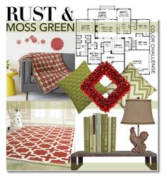 """Color Challenge: Moss Green and Rust"" by gabygrach ❤ liked on Polyvore featuring interior, interiors, interior design, home, home decor, interior decorating, Safavieh, Pillow Decor, Flamant and Universal Lighting and Decor"