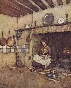 """""""She used to creep away to the chimney-corner and seat herself among the cinders.""""    These illustrations came from:    Quiller-Couch, Sir Arthur. The Sleeping Beauty and Other Tales From the Old French. Edmund Dulac, illustrator. New York: Hodder & Stoughton, 1910."""