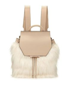L1CFN Kendall + Kylie Nancy Leather Faux-Fur Backpack