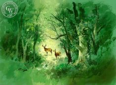 Woodland Scene, an original painting by Disney artist Richmond Kelsey. This painting is available as a fine art print on premium watercolor paper. Museum quality prints by California Watercolor. Watercolor Logo, Watercolor Artists, Watercolor Paper, Artwork Prints, Fine Art Prints, Original Art, Original Paintings, Disney Artists, California Art