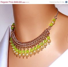 LABOR DAY SALE Chainmaille necklace lime green and by NezDesigns, $42.00