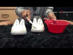 How to clean white shoes with baking soda and hydrogen peroxide - YouTube  How To Clean 25a71efec