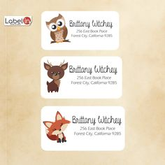Cute fox return address label cute owl return cute by Labelin Custom Printed Labels, Printing Labels, Forest City, Address Stickers, Cute Fox, Return Address Labels, Reindeer, Owl, Handmade Gifts