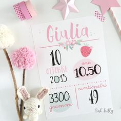 Frilly newborn card Pink Frilly