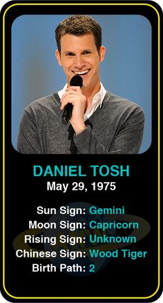 Famous Comedians: Daniel Tosh #astrology #comedy #comedian #comedians #astrocard #birthday #famous #danieltosh