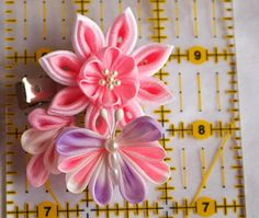 Pink Water Lily And A Butterfly Fabric Flower by MizuSGarden