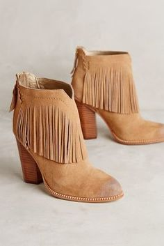 Cynthia Vincent Fringe Booties Tan
