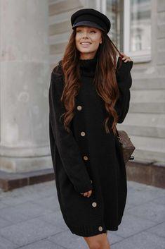 Rochie Prettymoda neagra tricotata pe gat cu maneci lungi Golf, Vest, Jackets, Fashion, Tricot, Down Jackets, Moda, Fashion Styles, Jacket
