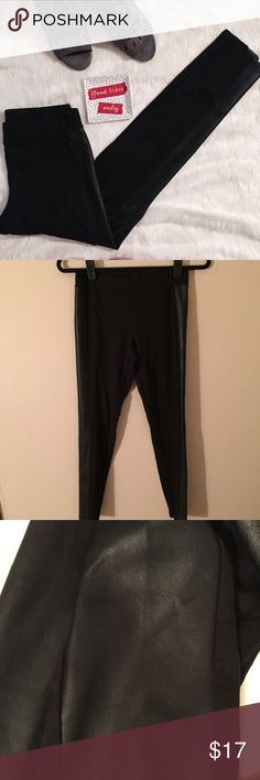 Express Ponte & Leather Leggings Black ponte leggings from Express with faux leather side detail. EUC Express Pants Leggings