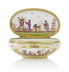 19th century Chinoiserie snuff boxes in Meissen style - A gilt-metal-mounted oval snuff box, 19th century. Photo Bonhams In Meissen style, painted on each side with a chinoiserie scene within a shaped gilt scrollwork cartouche enclosing lustre and embellished with iron-red scrollwork, the cover similarly decorated, the base with a chinoiserie vignette, the inside cover with an elaborate chinoiserie scene, the mounts molded with floral scrollwork.
