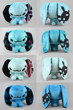 BLOG ETSY TUMBLR FACEBOOK A new challenger in my recent plush collection! A group of cute robots with different ear, antennae, and chest motif variations. I think the pixel heart is my favorite ^w^...