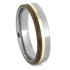 A beautiful and natural oak wood wedding band that can be worn by either men or women. This titanium ring is inlaid with wood along side a yellow. Leaf Engagement Ring, Rose Gold Engagement, Gold Diamond Wedding Band, Unique Wedding Bands, Black Rings, White Gold Rings, Tungsten Carbide Wedding Bands, Titanium Rings, Wedding In The Woods