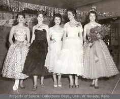 5 unidentified young women in evening gowns (1956)