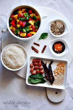 Capsicum Rice Recipe - How to Make Capsicum Masala Rice - Edible Garden Spiced Rice, Rice Porridge, How To Cook Rice, Rice Noodles, Rice Bowls, Edible Garden, Different Recipes, Rice Recipes, Chana Masala