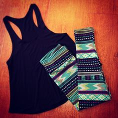 ♥♥ Spring/summer uniform!  Running errands sucks, so why not be comfy and cute while you're doing them! Aztec Leggings, Patterned Leggings, Printed Leggings, Athletic Outfits, Razorback Tank, Nursing Tank, Perfect Workout, Summer Outfits, Cute Outfits