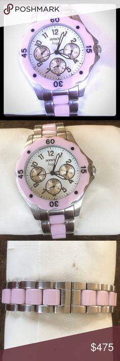 EXCELLENT COND Auth Invicta Pink Angel Watch Super cute and a amazing deal, condition is very good. No flaws, no scratches on glass. This was not worn much at all. Unfortunately I have no idea what happened to box but I will ship in one. I would love to sell or trade for an authentic Louis Vuitton! Invicta Accessories Watches