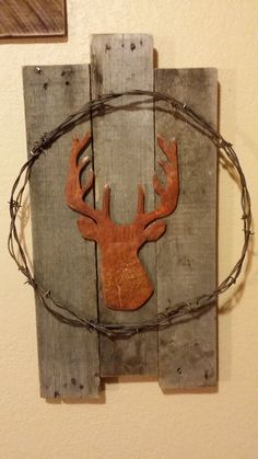 Deer Silhouette Sign, Reclaimed Wood Rusted Barbed Wire, Deer Head Pallet Board, Rustic Decor, Home Decor, Deer, Hunting Sign, Shabby Chic