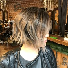 Medium Choppy Bob With Highlights