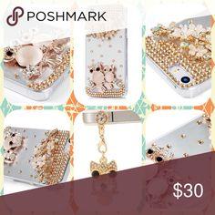 💟💟NWT IPHONE 5 DIAMOND CELL CASE 💞Mavis Handmade Crystal Golden Owl Flower Shiny Glitter Diamond Rhinestone Clear Hard Cover For IPhone SE/5S/5 With Cute Dust Plug💕 Mavis Accessories Phone Cases
