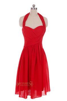 Halter Top Red Chiffon Knee Length Prom Dresses For Wedding /Mismatch Bridesmaid Dress Am34