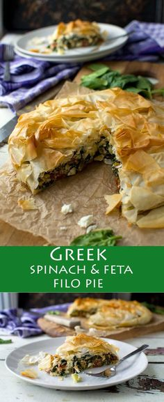 This spinach and feta filo pie tastes just like the 'spanakopita' you get in Greece, and it's soooo easy to make! This spinach and feta filo pie tastes just like the 'spanakopita' you get in Greece, and it's soooo easy to make! Veggie Recipes, Vegetarian Recipes, Cooking Recipes, Healthy Recipes, Pie Recipes, Vegetarian Lunch, Vegetarian Dinners, Sausage Recipes, Recipies