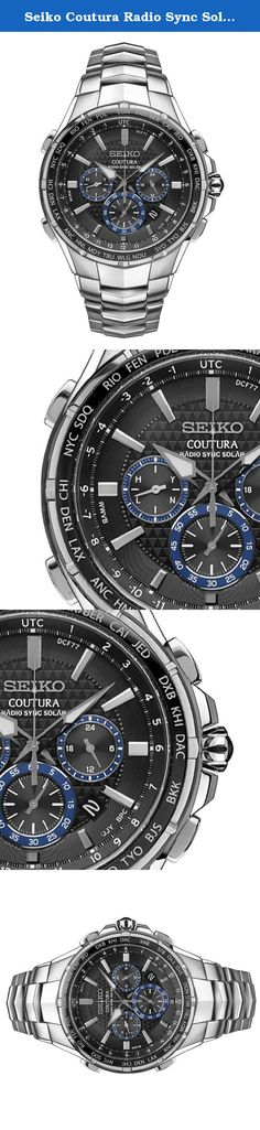 Seiko Coutura Radio Sync Solar Chronograph Stainless Steel Mens Watch SSG009. Radio-controlled: Automatically receives radio signals to precisely adjust the time and calendar - Signal reception and result indicator - World time function (25 time zones) - 24 hour indicator - 6-month power reserve - Power save function - Chronograph measures up to 60 minutes in 1/5 second increments with split time measurement function - Date calendar - LumiBrite hands and markers - Screwdown crown - Glass...
