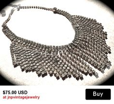 Waterfall, Cascade, fringe dangle Statement necklace. Silver paste metal, clear rhinestones