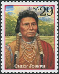 Picture of USA - CIRCA 1994 : Stamp printed in the USA shows Chief Joseph - chief of the Wal-lam-wat-kain (Wallowa) band of Nez Perce, humanitarian and peacemaker in old West, circa 1994 stock photo, images and stock photography. Native American Wisdom, Native American Beauty, Native American Indians, American History, Native Americans, Native Indian, Native Art, Indian Art, Chef Joseph