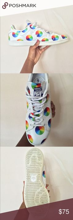 Colorwheel Stan Smiths These are in good condition, worn less than 5 times. Box included. Mens 10.5. Feel free to drop a price, I am more than willing to negotiate for a reasonable price or trade✨ Adidas Shoes Sneakers