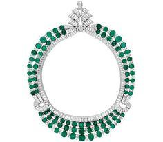 Van Cleef & Arpels emerald and diamond reversible necklace.  Art Deco - c. 1925